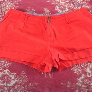 Orange jean shorts